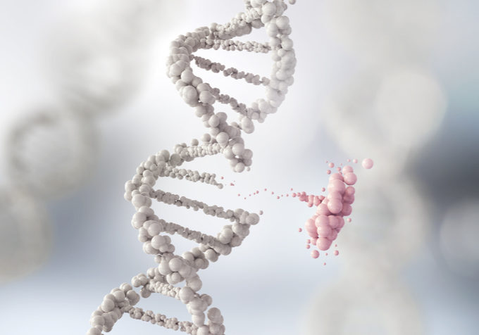 DNA helix break or Replace for concept of Genetic engineering and gene manipulation, molecule or atom, Abstract atom or molecule structure for Science or medical background, 3d illustration.